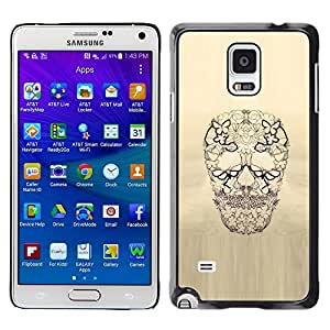 Plastic Shell Protective Case Cover || Samsung Galaxy Note 4 SM-N910 || Skull Floral Butterfly Spring Death @XPTECH