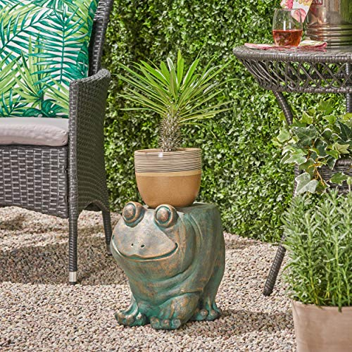 Great Deal Furniture 307407 Dawn Frog Garden Stool, Lightweight Concrete, Copper Patina Finish