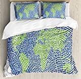 World Map Queen Size Duvet Cover Set by Ambesonne, Map of the World Fingerprint Style Continents Asia Europe Africa America, Decorative 3 Piece Bedding Set with 2 Pillow Shams, Navy Blue Green