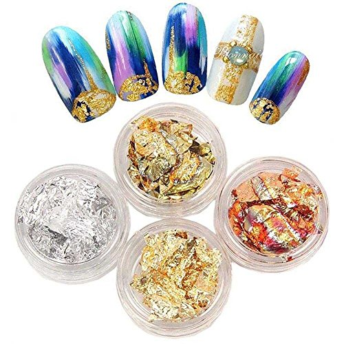 Gracefulvara 4pcs/4 Colors Nail Art Gold Silver Paillette Flake Chip Foil Acrylic UV Gel Paper Decor (Divi Copper Foil)