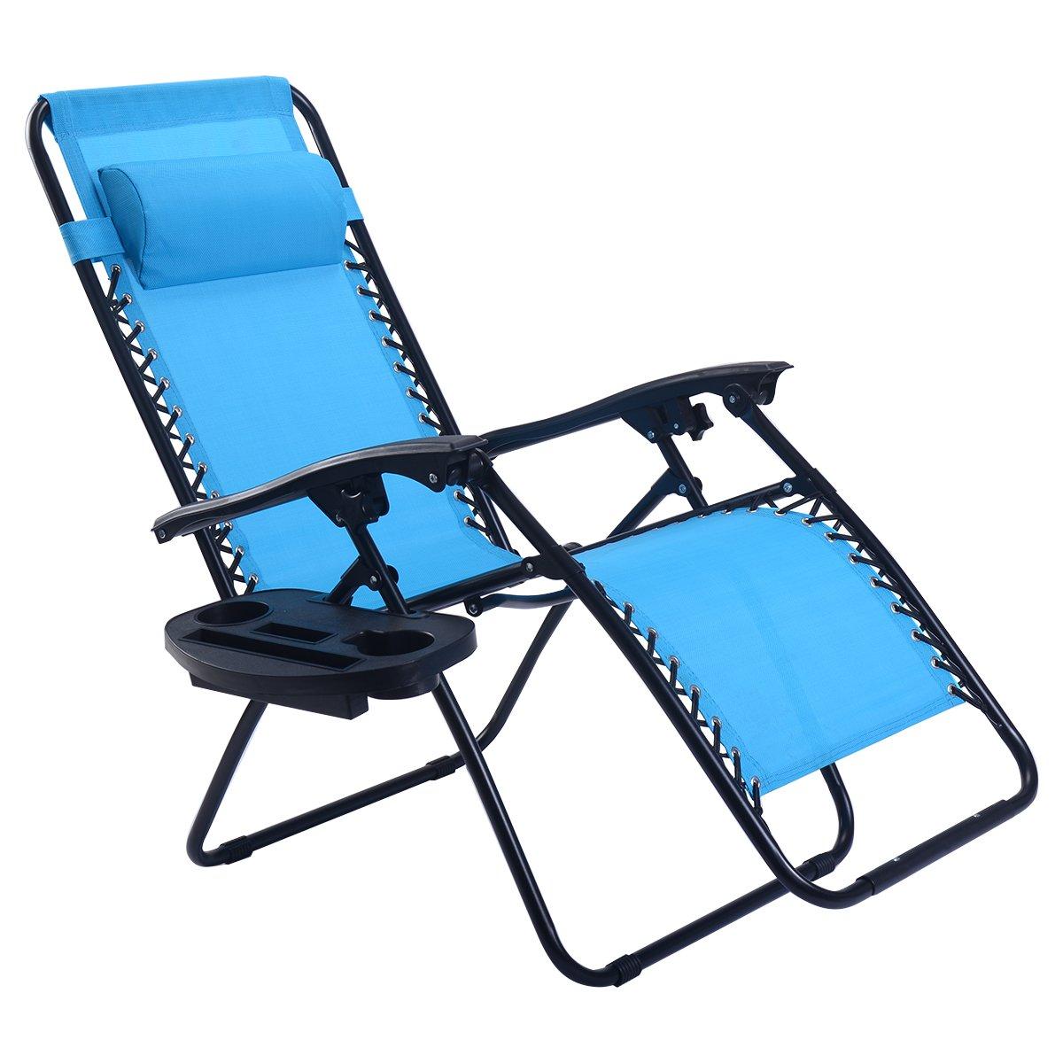 Goplus Folding Zero Gravity Reclining Lounge Chairs Outdoor Beach Patio W/Utility Tray (Light Blue)