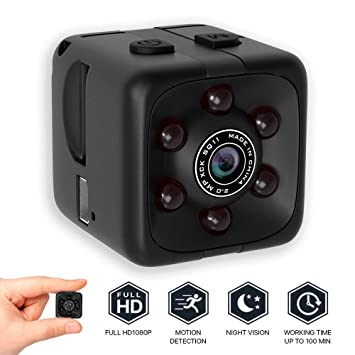 bqmqolove Mini cámara de Seguridad Cámara de visión Nocturna 1080P Cámara portátil con Cubo HD Cámara de detección de Movimiento: Amazon.es: Electrónica