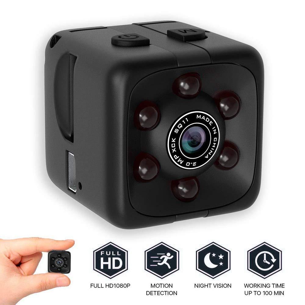 LEEBA SQ11 Mini Camera【2019 Secret Micro Cameras】 1080P Night Vision Hidden Spy Cam Surveillance for Home/Car/Drone/Office Security Video Loop Recorder(1 Cubic Inch)