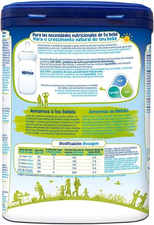 Miltina 1 PROBALANCE, leche para lactantes desde el nacimiento, 750g (1891396): Amazon.es: Alimentación y bebidas