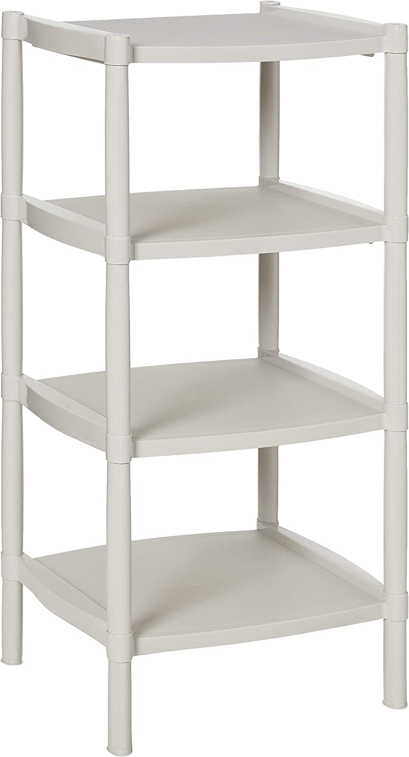 4 Tier Free Standing Shelf Storage and Organization Unit (Grey). Great Display, Organization and Storage Shelving for Home, Dorm, Bathroom, Kids Room or Garage. About 15 ½ x 15 ½ x 35 Inches High.