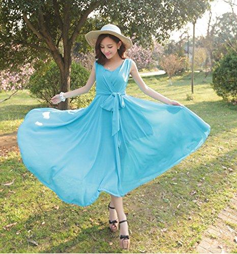 DragonPad Prom Chiffon Light Pleated Party Dress Blue Hot Women's Sleeveless Summer Long rTrxZS