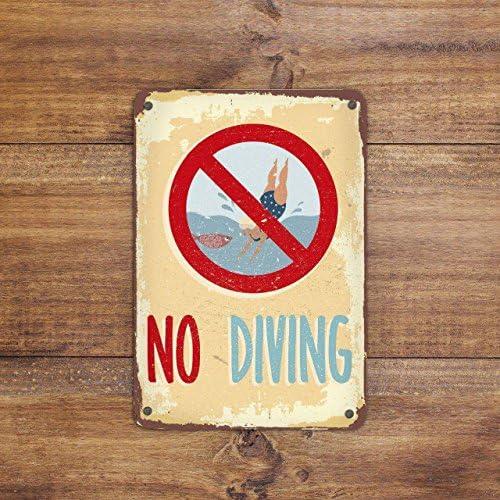 Tiukiu Schild No Diving Pool Schild Vintage Stil Schwimmbad Schild Teichschild Deko Teich Warnschild Achtung Schild Schwimmen ist verbotenschild