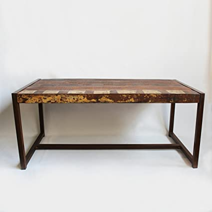 Amazoncom Reclaimed Wood Iron Dining Table Home Kitchen - Reclaimed wood and iron dining table