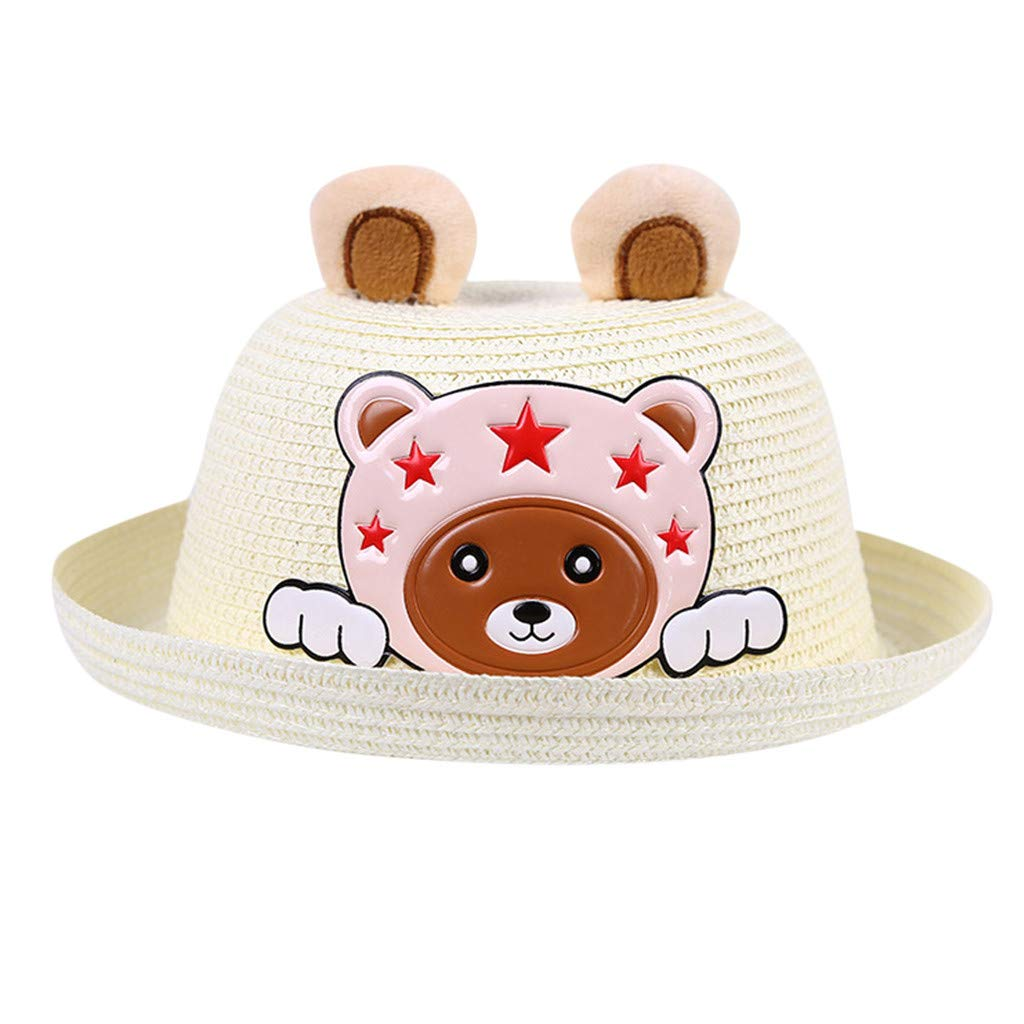 Unisex Kids Straw Bowler Hat Summer Sun Hat Beach Easter Bonnet Cartoon Bear Cap Cartoon Expression Ears Cap A