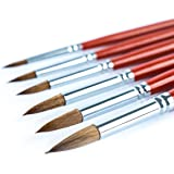 Transon Artist Round Paint Brush Set 6 Pcs Weasel Hair for Watercolor, Acrylic, Oil, Gouache, Tempera Painting