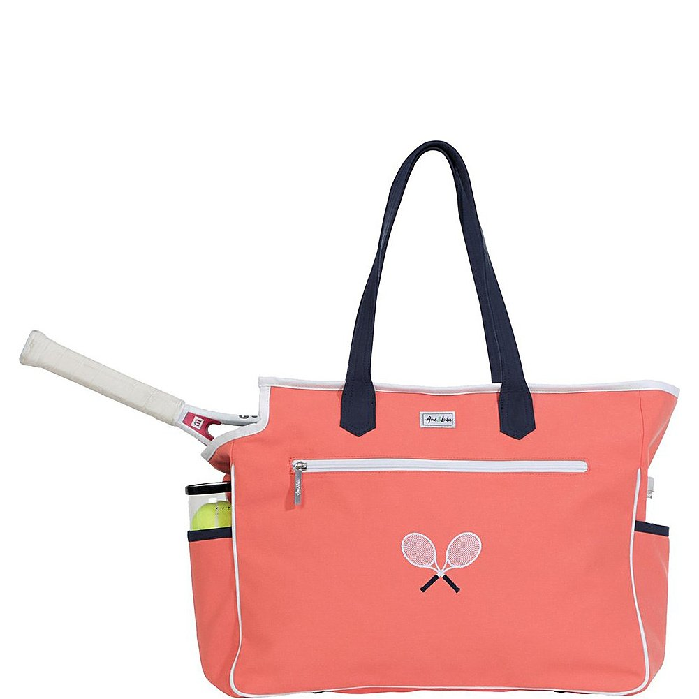 Ame & Lulu Kensington Crossed Racquet Court Bag (Coral/Navy)