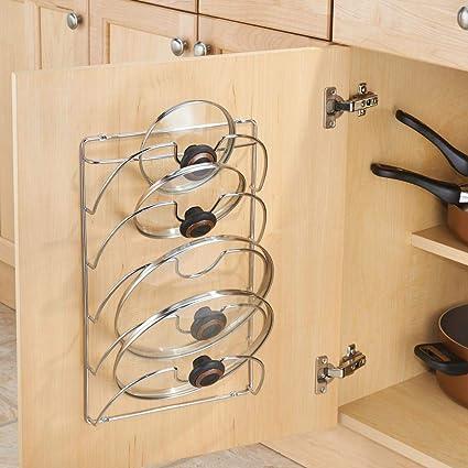 mDesign Organizador cocina - Accesorios de cocina prácticos - Si busca organizar armarios cocina este soporte para tapas de sartén es la solución - metal ...