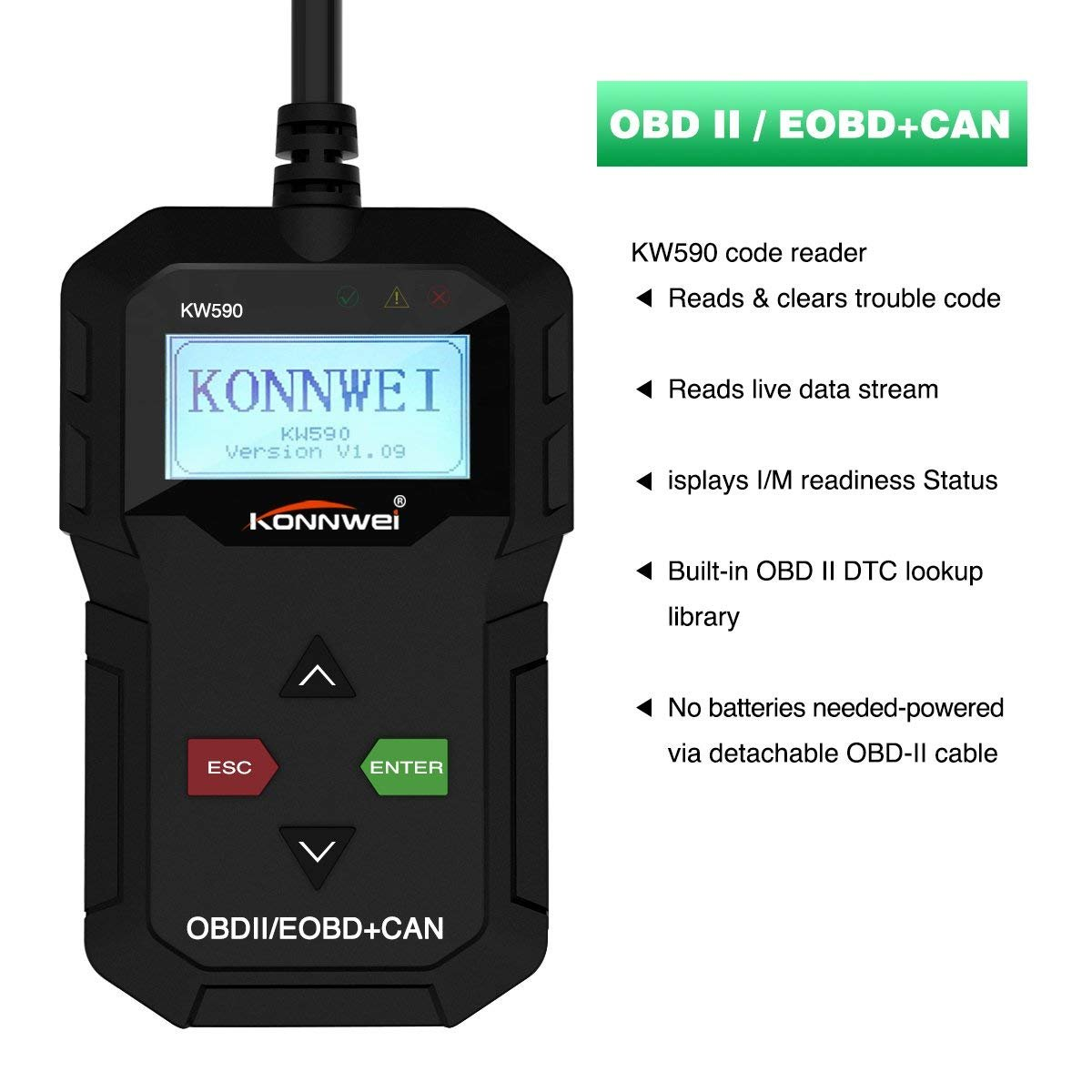 YOKARO KONNWEI KW590 OBD II Scanner, Universal OBD 2 Car Engine Fault Code  Reader CAN Diagnostic Scan Tool