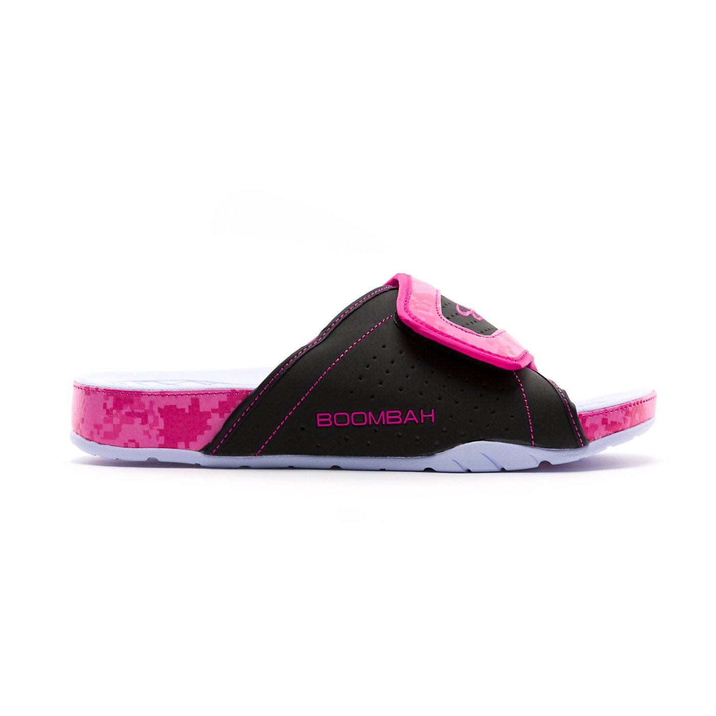 Boombah Men's Tyrant Slide Sandals - 32 Color Options - Multiple Sizes B07CT5Y3FQ 9|Black/Pink/White