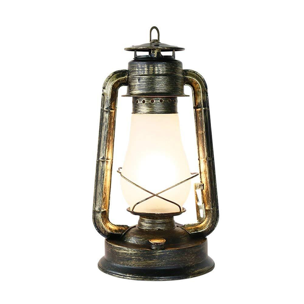 LLYU Lámpara de Mesa nostálgica Retro Linterna país Americano lámpara de Escritorio Antigua lámpara de Lectura Vintage cafetería Bar almacén Restaurante