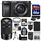 Sony Alpha A6300 4K Wi-Fi Digital Camera & 16-50mm with 55-210mm Lens + 64GB Card + Case + Flash + Battery + Charger + Grip + Tripod + Kit