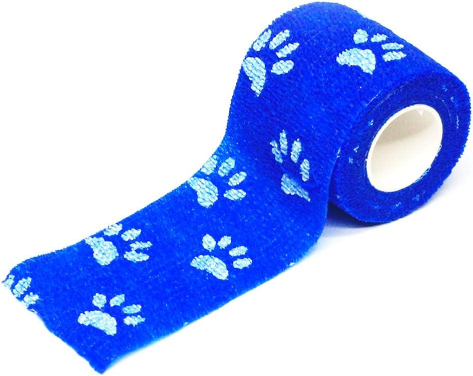 5 4.5Blue And White Lumpur Pet Dog Cat Animal Vet Wound Bandage Tape Elastic Self-adhesive Wrap Practical