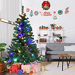 Goplus 5FT Pre-Lit Artificial Christmas Tree Auto-spread/ close up Branches 11 Flash Modes with Multicolored LED Lights & Metal Stand