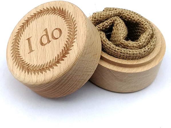 Caja para anillos de madera de haya rústica para boda, joyero, grabado de palabras que Je Fais: Amazon.es: Hogar
