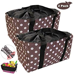 Reusable Grocery Bags, Extra Large Oxford Cloth Shopping Totes, Drawstring Tote for No Dropping, Set of 2 Collapsible Reinforced Bottom, Stands Upright Shopping Bags Washable (Brown Dot)