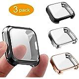 3 Packs Screen Protector Compatible Fit bit Versa, GHIJKL Ultra Slim Soft Full Cover Case for Fit bit Versa, Black, Silver, Rose Gold