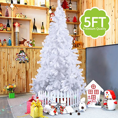 JAXPETY New Artificial 5 ft Christmas Tree Unlit with Stand Holiday Season Decor White