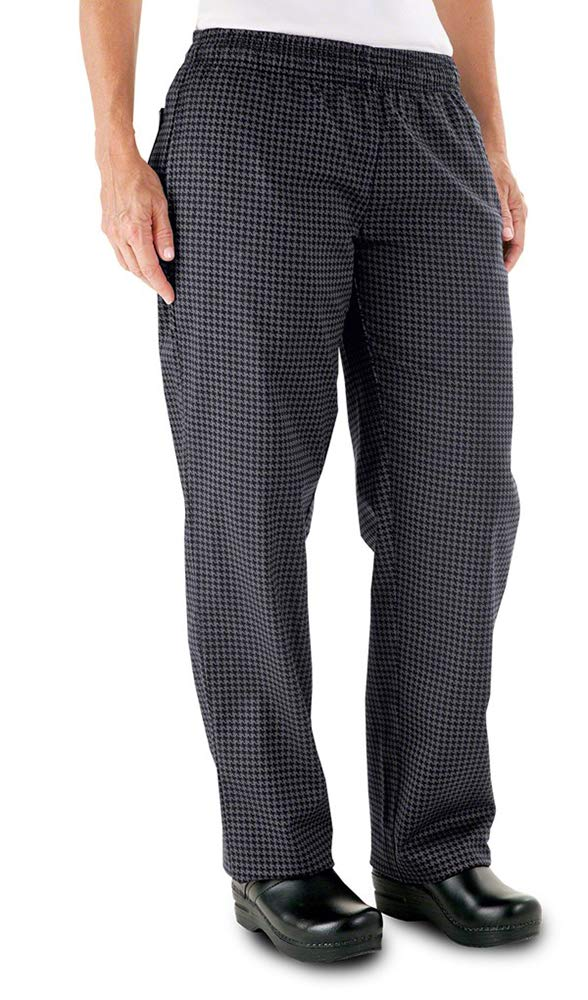 Womens Houndstooth Chef Pant (Small, Gray Houndstooth) by ChefUniforms.com