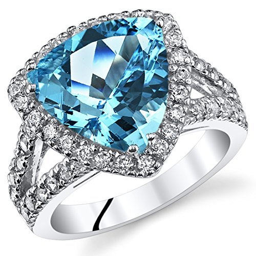 5.00 Carats Trillion Cut Swiss Blue Topaz Cocktail Ring Sterling Silver Size 9