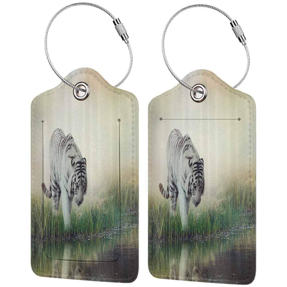 Small luggage tag Wildlife Animal Nature Decor Tiger Leopard Wild Animals in Jungle Forest Quickly find the suitcase W2.7 x L4.6