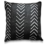 Craft & Kin Throw Pillow Covers 18 x 18: Authentic African Mudcloth Fabric Handwoven in Uganda Africa with Zipper for Home Decoration for Living Room Decor (Black Chevron)