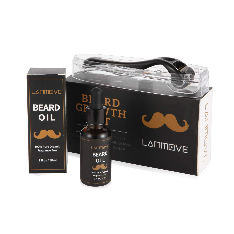 Derma Roller Beard Growth Kit,Beard Roller + Beard Growth Oil for Men, Facial Hair Roller for Men, Grow Beard with Beard Stimulator Hair Growth Kit, Organic Beard Oil and Microneedle Dermaroller