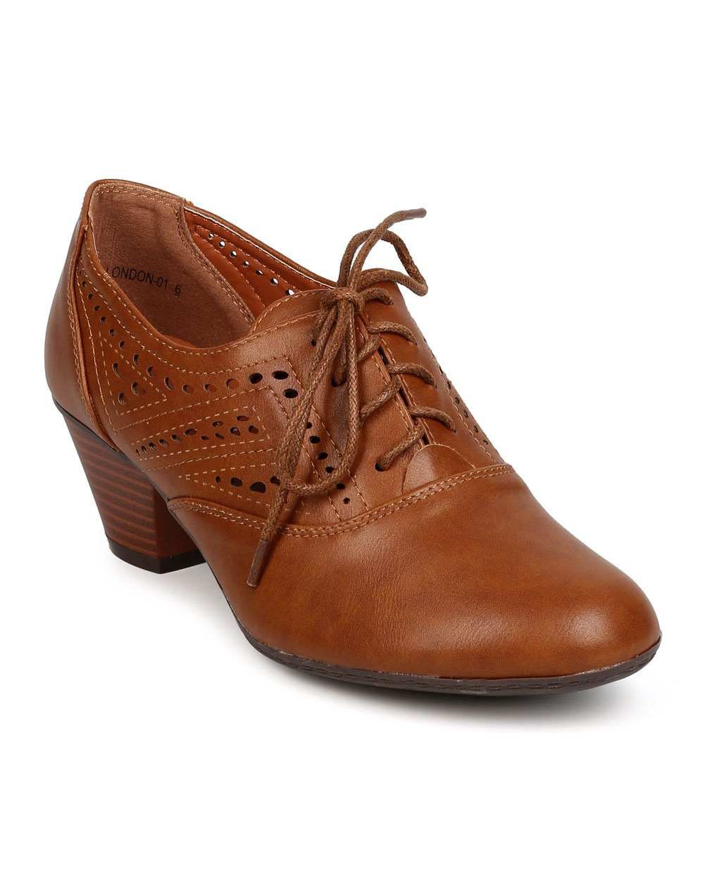 Women Leatherette Lace Up Perforated Chunky Heel Oxford Bootie FC20 - Tan (Size: 6.0)