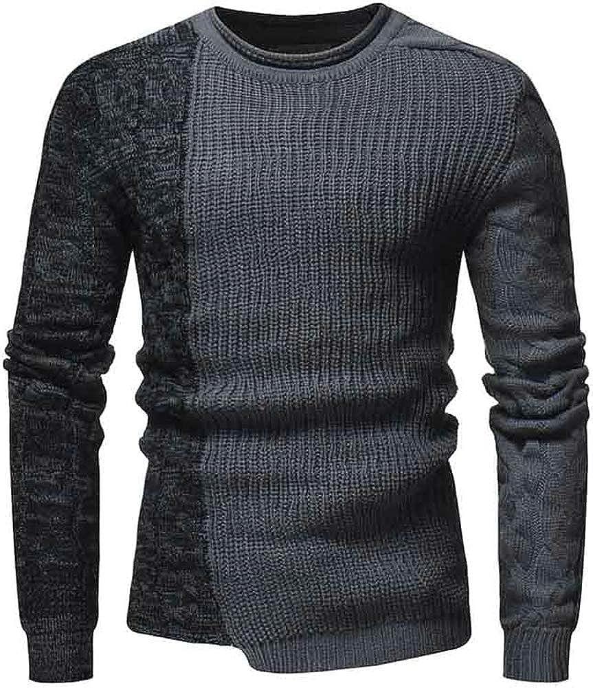 TuGui Mens Casual Wild Twist Hedging Kintted Crewneck Irregular Sweaters