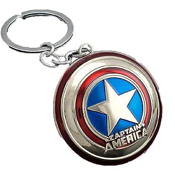 Amazon.com: Capitán América Llavero con logo de rojo y azul ...