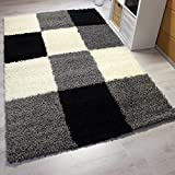 Vimoda Rug 120 x 170 cm High Pile Modern Shaggy Style Checked Pattern Black / Grey / White by AHOC