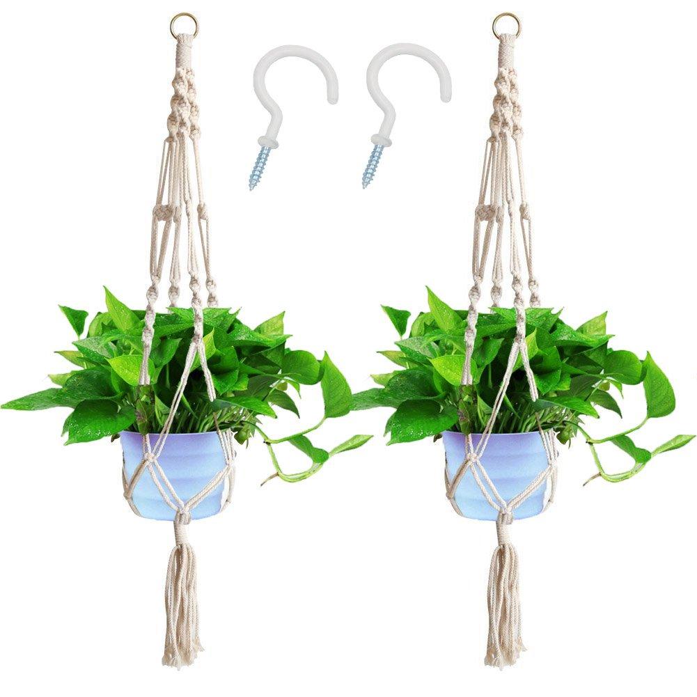 Macrame Plant Hanger Indoor Outdoor Hanging Plant Pots Cotton Rope, Elegant for Home, Patio, Garden (2 Pack) Alyan&Jammsy