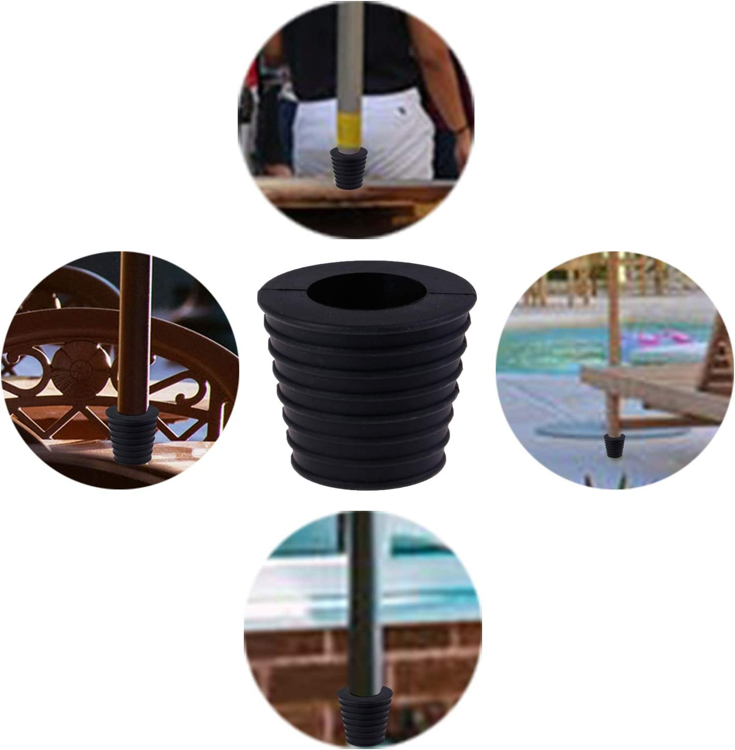 2, Brown,Black LOCOLO Umbrella Pole Wedge Fits 1.5 Inch Umbrella Umbrella Cone for Patio Table Hole Opening Base 1.9 to 2.6 inch