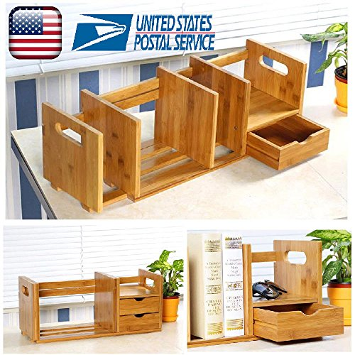 DIY Bookshelf Adjustable Desk Tabletop Book Storage Organizer Bamboo Rack Storage Organizer with Drawer (2 Drawers) by GOTOTOP