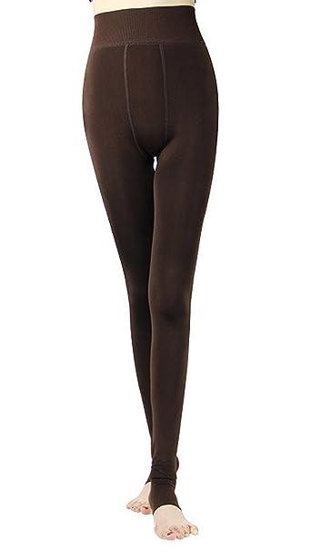 d03f4cd67bb665 OUYE Women's Full Length Fleece Lining Thermal Leggings Coffee ...