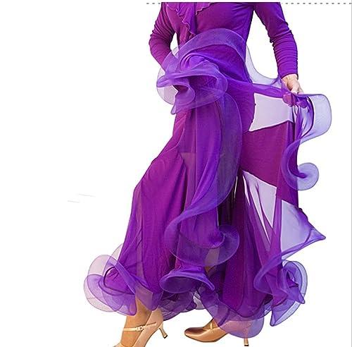 YC WELL Falda larga moderna de tango para mujer, falda punto bowknot, falda larga para bailes de salón, traje para fiesta., Manga Larga, Mujer, color morado, tamaño XX-Large