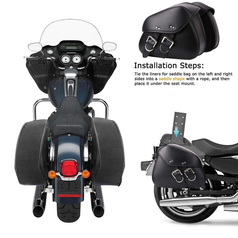 Borsa Laterale in Pelle PU con Isolamento Antipolvere Impermeabile di Medie Dimensioni Compatibile per Harley Sportster Softail Honda Suzuki Yamaha Cruise Gorge-buy 2-Pack Borsa da Sella per Moto