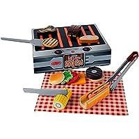 Melissa & Doug Set BBQ de madera para asar y servir (alimentos de madera para juego, 20 piezas)
