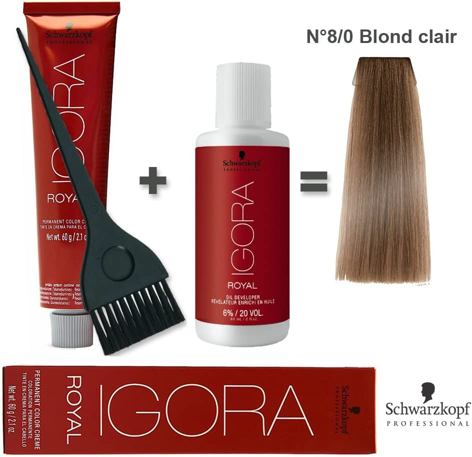 Igora Royal 8/0 - Kit de coloración rubio claro para el cabello (60 ml) + oxidante de 20 volúmenes, 60 ml