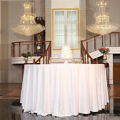 """PartyDelight Sequin Tablecloth, Round, 50"""", White"""