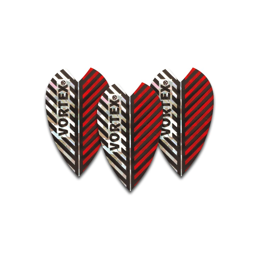 Holographic Red Vortex Dart Flights - 4 sets per pack (12 flights in total) & Red Dragon Checkout Card Red Dragon Darts