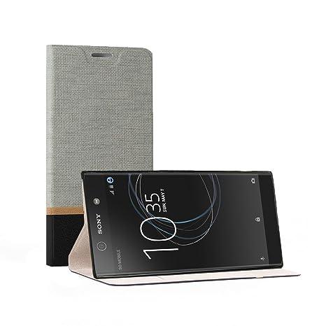 Funda Sony Xperia L1, SunFay Cartera Carcasa Flip Folio Caja Piel PU Suave Super Delgado Estilo Libro,Soporte Plegable para Sony Xperia L1 - Gris