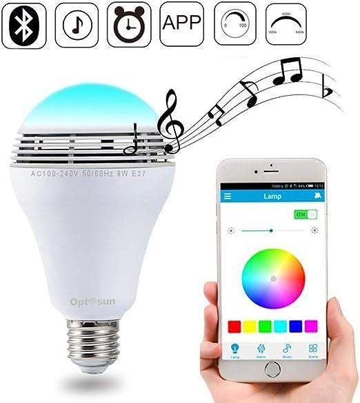 Weiqiao® WiFi Smart Bombilla E27 9W Multicolor Bluetooth Altavoces ...