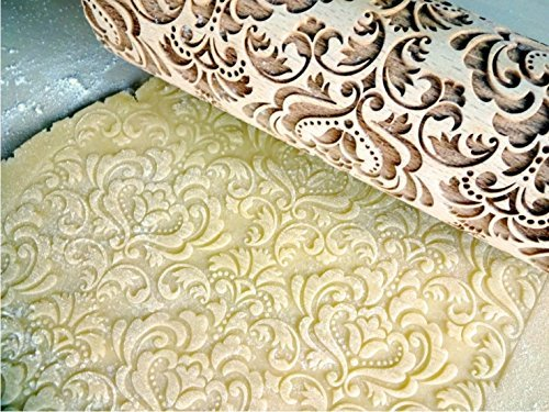 DAMASK ROLLING PIN Embossed cookies with flowers DAMASK PATTERN Wooden embossing rolling pin with ORIENTAL FLOWERS