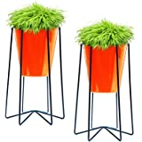 Ascent Homes Metal Iron Flower Pot Stand with Metal Bucket Planter (Orange) - Set of 2