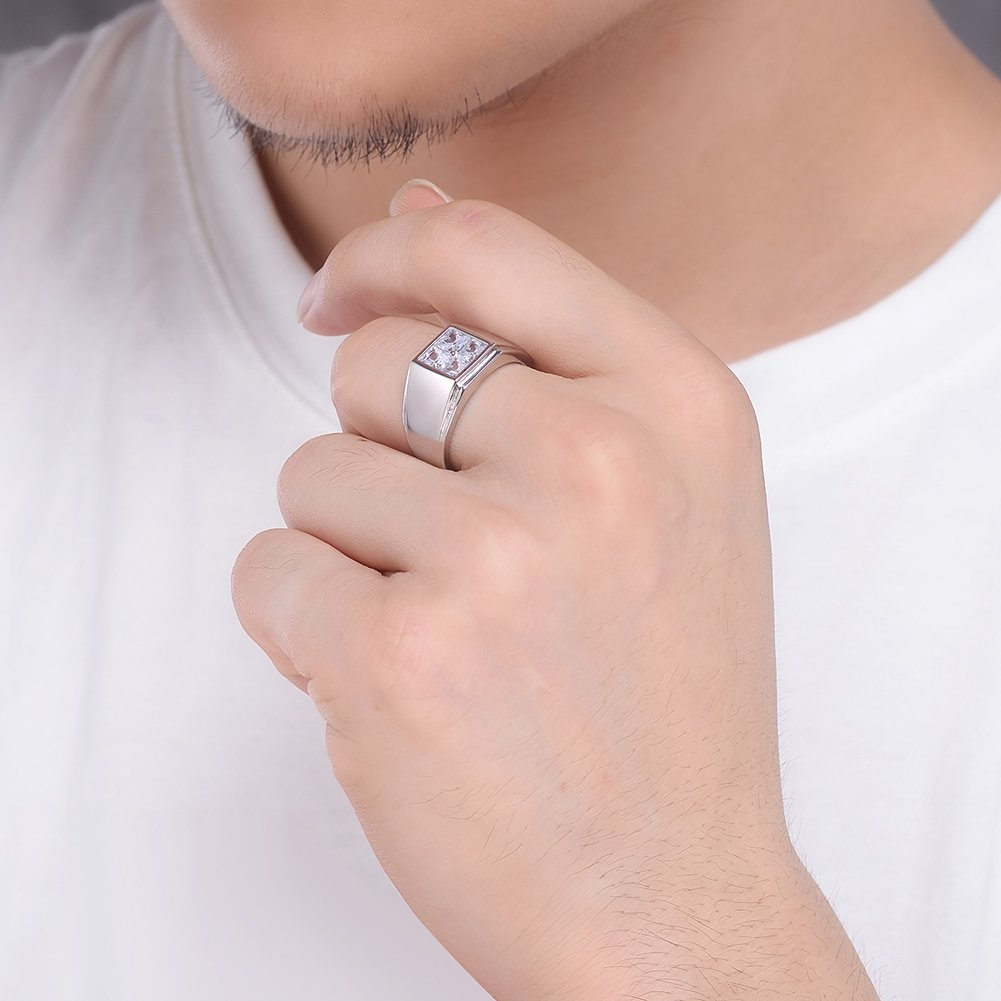 925 Sterling Silver Men Rings 18K White Gold Plated Wedding Jewelry ...